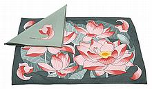 A SET OF HERMES LOTUS PRINTED COTTON PLACEMATS