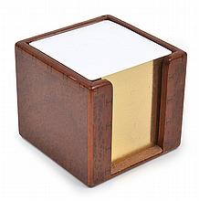 A HERMES LACQUERED BURL POST IT NOTE HOLDER
