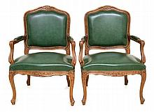 A PAIR OF LOUIS XV STYLE FAUTEUILLES