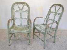 TWO PAINTED CANE CHAIRS (A/F)