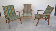 A SET OF FOUR VINTAGE DECKCHAIRS (A/F)