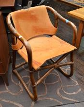 A DANISH SIDE CHAIR IN BAMBOO/CANE AND COGNAC HIDE LEATHER