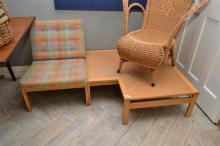 A SET OF THREE OLE KNUDSEN MODULAR CHAIRS AND SIDE TABLE