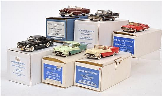 SIX CONQUEST MODELS INCLUDING NO.1 1954 OLDSMOBILE STARFIRE 98; NO.2 1960 CHEVROLET IMPALA CONVERTIBLE; NO.3B 1955 BUICK SUPER RIVER...