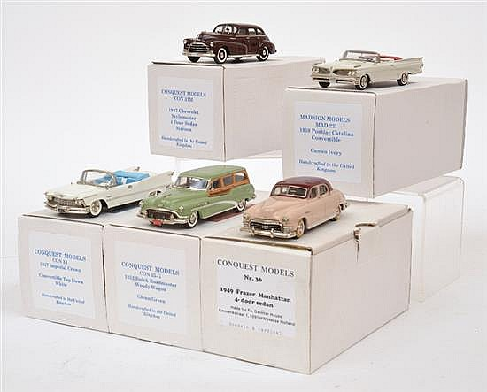 FIVE CONQUEST MODELS INCLUDING NO. NO.34 1957 IMPERIAL CROWN; NO.35G 1952 BUICK ROADMASTER WOODY WAGON; NO.36 1949 FRAZER MANHATTEN;...