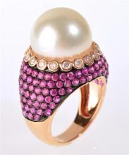 A SOUTH SEA PEARL, DIAMOND AND RUBY RING