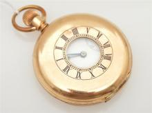 A HALFHUNTER POCKET WATCH BY RUSSELLS  LIVERPOOL CROWN WOUND AND SET