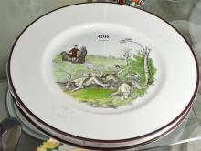 THREE PLATES WITH HUNTING SCENES DEPICTED, INCL. ROYAL CROWN DERBY
