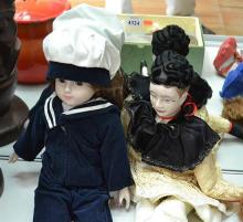 TWO MODERN DOLLS INCLUDING SAILOR GIRL AND SAD CLOWN