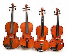 A COLLECTION OF FOUR VIOLINS various conditions