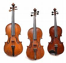 A COLLECTION OF THREE VIOLINS various conditions, two missing a chin rest
