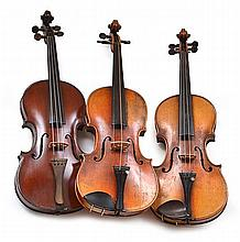 A COLLECTION OF THREE VIOLINS various conditions, one missing a chin rest