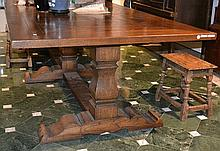 A FRENCH PROVINCIAL STYLE TRIPLE PEDESTAL REFECTORY TABLE  with a parquetry inlaid top above baluster supports and cross stretchers, 325 x 78 x 124cm