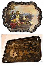TWO ANTIQUE PAPIER MACHE TRAYS