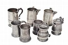 A COLLECTION OF EIGHT PEWTER TANKARDS various dates, 17th to 18th century, the largest 16.5cm high