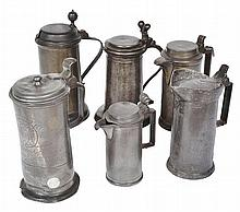 A COLLECTION OF SIX PEWTER LIDDED TANKARDS various dates, 17th to 18th century, the largest 27cm total height