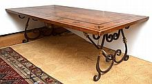 A FRENCH PROVINCIAL STYLE WROUGHT IRON BASED REFECTORY TABLE rectangular, with parquetry inlay, ebonised bands and fleur-de-lys above a scrolling wrought iron base and stretcher, 241 x 76 x 100cm