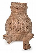AN ANCIENT NEAR-EASTERN ZOOMORPHIC EARTHENWARE TERRACOTTA TRIPOD, CIRCA LATE SECOND MILLENIUM - EARLY FIRST MILLENIUM B.C.