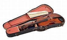 A VIOLIN IN A CASE  with accompanying bow, in a navy leather case (wear), the violin 58cm long