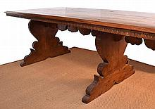 AN ITALIAN RENAISSANE STYLE DINING TABLE  rectangular, above three shaped supports with foliate carved decoration, 295 x 78 x 102cm