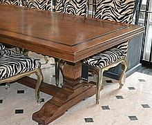 A FRENCH PROVINCIAL STYLE REFECTORY TABLE  rectangular, inlaid with an ebonised border, above turned supports and a stretcher, 299 x 74.5 x 121cm