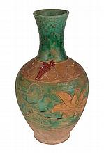 AN ANTIQUE GREEN AND YELLOW-GLAZED TERRACOTTA VASE