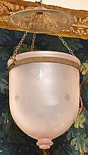 A PAIR OF FROSTED GLASS KENDISeach engraved with star motifs, 30cm high