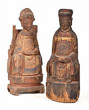 A PAIR OF CHINESE POLYCHROME SEATED TEMPLE FIGURES, 19TH CENTURY