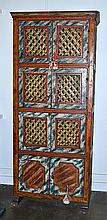 A 17TH CENTURY CARLOS II PAINTED SPANISH CUPBOARD with a cavetto cornice above six doors centred by trellis panels and two solid panelled doors, painted in a marbled pattern, 90 x 205.5 x 48.5cmProvenance: ex Jose Maria del Ray collection 1976