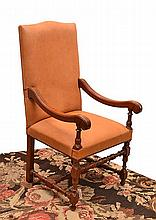 A SET OF EIGHT CHARLES I STYLE HIGH BACK DINING CHAIRS  comprising six chairs and two carvers, upholstered in tan leather with turned supports and cross stretchers