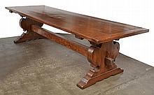 AN OAK REFECTORY TABLE  rectangular, above dual shaped supports with a stretcher, 310.5 x 79 x 100cm