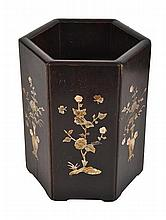A CHINESE CARVED HEXAGONAL BRUSHPOT
