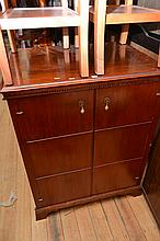 A GEORGIAN STYLE HALL CABINET MOUNTED ON BRACKET FEET (SMALL DINT TO SIDE PANEL)