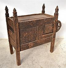 AN AFGHAN CEDAR CARVED DOWRY CHEST