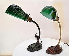 PAIR OF ART DECO METAL BASED DESK LAMPS WITH GREEN GLASS SHELL SHADES