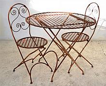A FOUR PIECE CAST METAL OUTDOOR SETTING