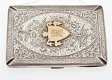 AN ANTIQUE STERLING SILVER CASE WITH ORIGINAL CONTENTS, INCLUDING NOTE PAD