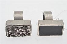 TWO HEAVY PEWTER RINGS
