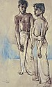 DONALD FRIEND (1915-1989) Two Boys, Ceylon mixed media on paper