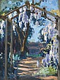 MARGERY WITHERS (1874-1966) Wisteria Arch oil on board