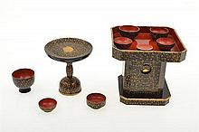 A COLLECTION OF JAPANESE LACQUER DOLLS HOUSE OBJECTS,