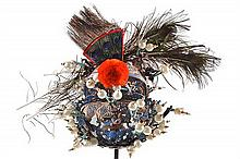 AN ELABORATE OLD CHINESE OPERA SINGER'S HEADGEAR, a lacquered papier-mache construct with kingfisher feather insets at front and bac...