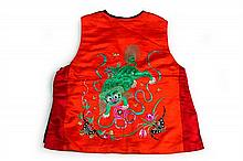 A COLLECTION OF TEXTILES, including three baby jackets, a Dong tribe jacket, a red satin baby suit, a fo dog decorated baby vest, an...