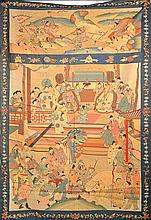 A LARGE SUZHOU EMBROIDERY, depicting a ceremonial offering scene 210 x 144.5cm