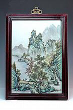 TWO SIMILAR FRAMED PORCELAIN TILES, MOUNTAIN LANDSCAPE, 40.6cm x 30cm