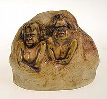 SMALL WILLIAM RICKETTS SCULPTURE OF TWO ADOLESCENT