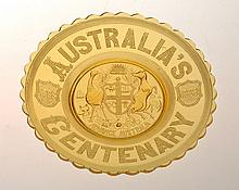 AUSTRALIAN CENTENARY YELLOW GLASS COMMEMORATIVE