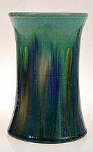HOFFMAN DRIP GLAZE CYLINDRICAL VASE, STAMPED TO