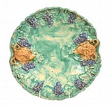 UNA DEERBON DOUBLE SATYR PLATE WITH GRAPE AND VINE