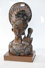 SOUTH EAST ASIAN CARVED WOODEN BUST OF A LADY AND A BIRD. AND A BOXED SET OF THAI FORKS